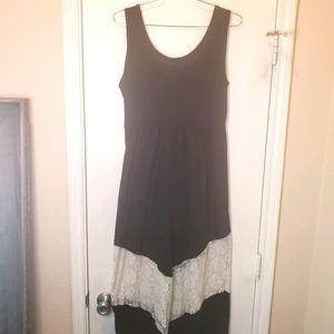Pinc Black w/ White Lace Maxi Dress sz Large
